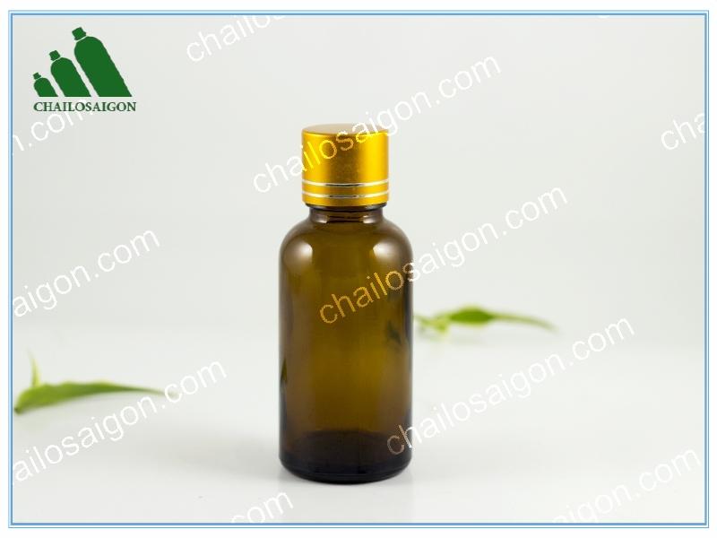 Chai tinh dầu 30ml năp vàng viền bạc