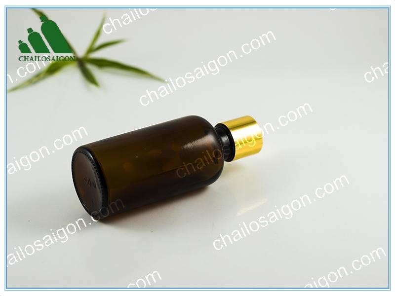 năp bóng vàng của chai tinh dầu nâu 50ml