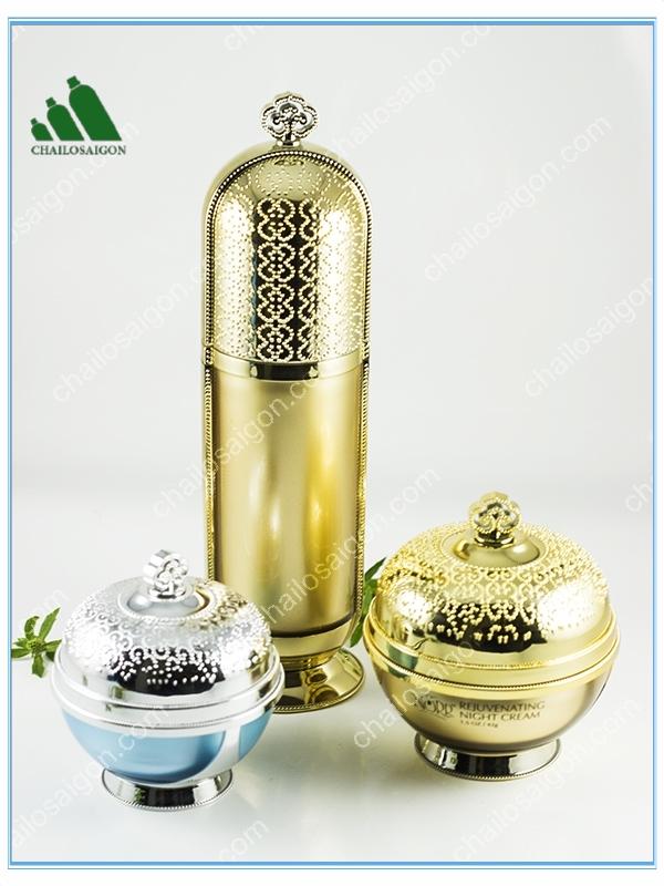 bộ chai lọ đựng mỹ phẩm Acrylic vàng gold