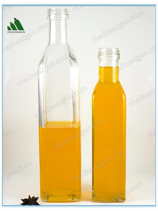 Kích thước chai thủy tinh dầu ô liu 250ml-500ml