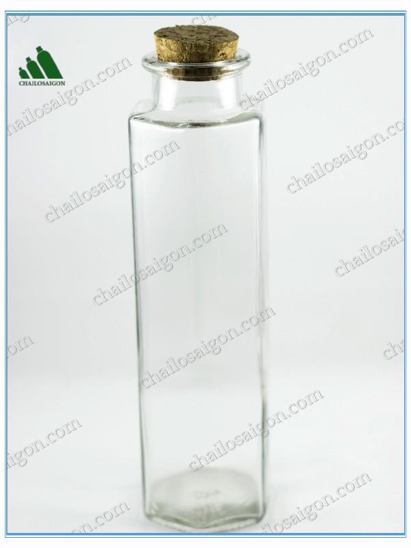 chai thủy tinh nắp bần gỗ lục giác